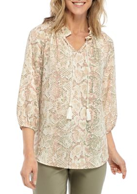 Ruby Rd Womens Ombre Python Print Crepe Woven Blouse