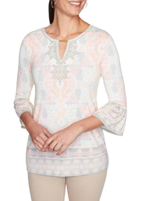 Womens Rose All Day 2020 Lace Border Knit Top