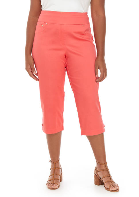 Plus Size Silky Belted Capris