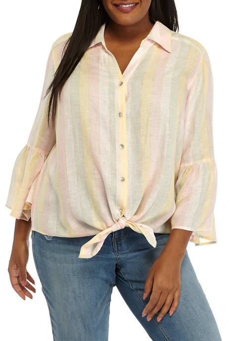 Plus Size Bell Sleeve Yarn Dye Tie Front Stripe Top