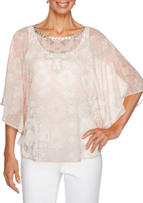 Petite Rose All Day 2020 Medallion Print Butterfly Top