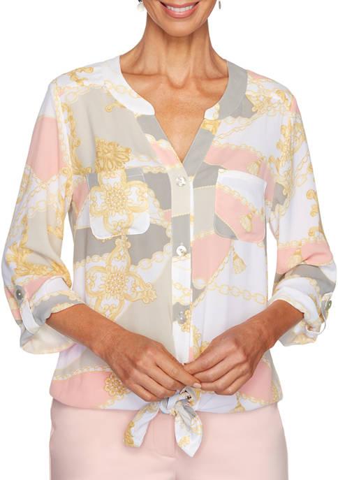 Ruby Rd Petite Color Block Tie Front Top
