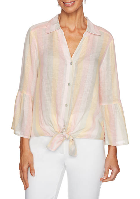 Petite Rose All Day 2020 Metallic Stripe Tie Front Top