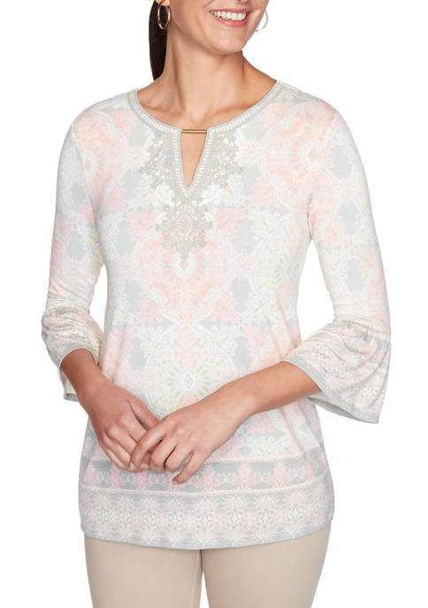 Petite Rose All Day 2020 Lace Border Knit Top