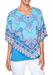 Womens Meet Me In Capri Scarf Placement Butterfly Top