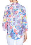 Womens Meet Me In Capri Tuscan Floral Tie Front Woven Top