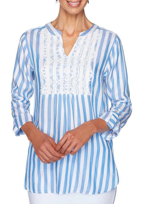 Womens Meet Me In Capri Stripe Twill 3/4 Sleeve Top