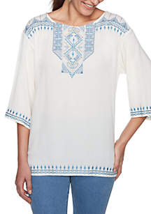 Blues Traveler Three-Quarter Sleeve Embroidered Crepe Top