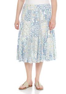 Blues Traveler Plus Size Knit Burnout Mid Skirt