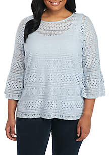 Plus Size Blues Traveler Stretch Lace Bell Sleeve Top