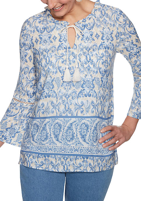 Ruby Rd Plays the Blues Petite Paisley Print