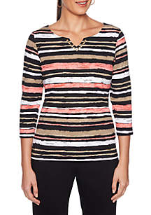 Split Neck Marker Stripe Top