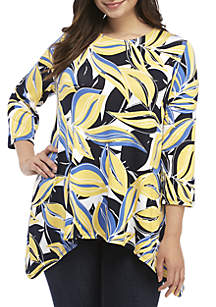 2552e0b6829 ... Ruby Rd Plus Size Scoop Neck Spring Leave Shark Bite Top