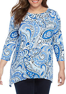 Ruby Rd Plus Size Must Haves Jardin Paisley Shark Bite Hem Top