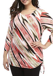 Plus Size Ikat Print Side Ruched Top