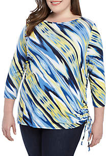 Ruby Rd Plus Size Ikat Print Side Ruched Top