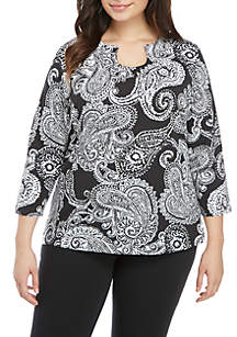Ruby Rd Plus Size Must Haves Embellished Horseshoe Neck Paisley Top