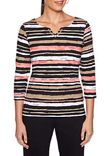 Petite Split Neck Striped Knit Top
