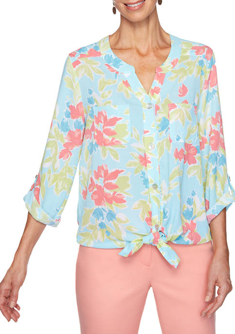 Womens Enchanted Garden 2020 Floral Tie Front Woven Top