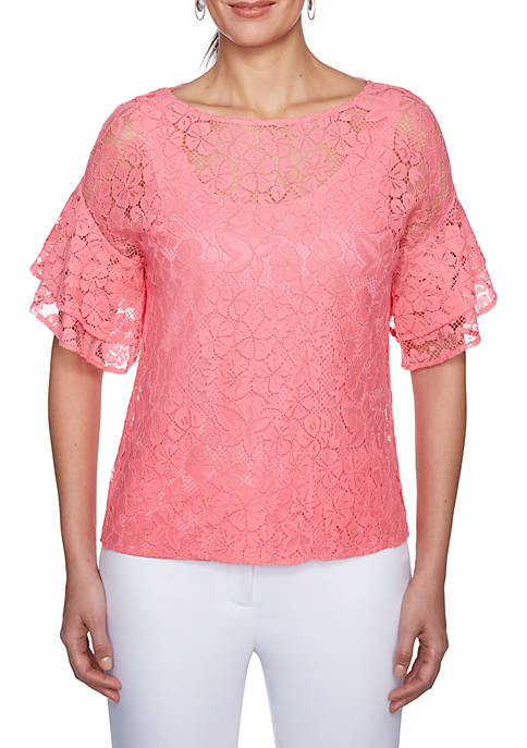 Ruby Rd Island Hopping Woven Lace Ruffle Sleeve