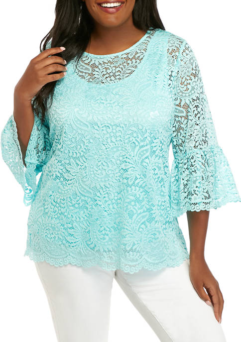 Ruby Rd Plus Size 3/4 Sleeve Lace Top