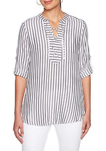 In The Mix Striped Woven Top