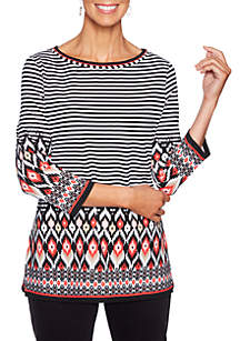 In Mix 3/4 Sleeve Stripe Knit Top