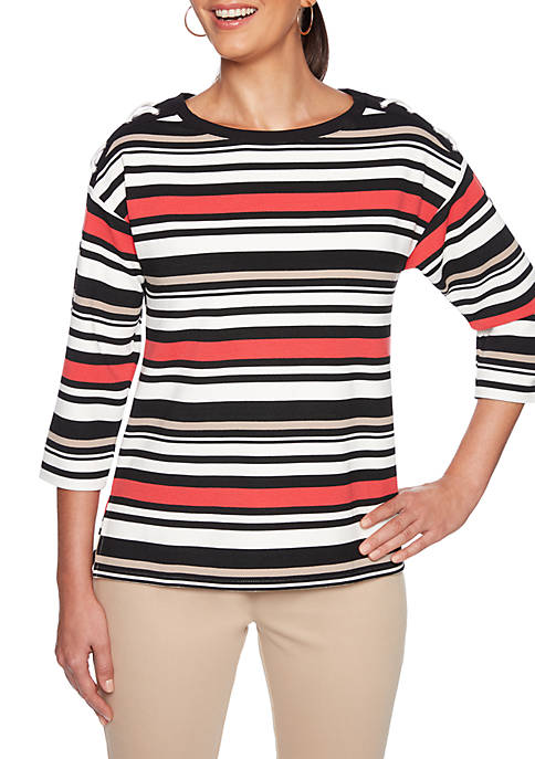 Ruby Rd In Mix Striped Top with Side