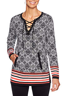 Ruby Rd In Mix Split Neck Jacquard Pullover Sweater