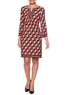 Mix Geo Puff Print Dress