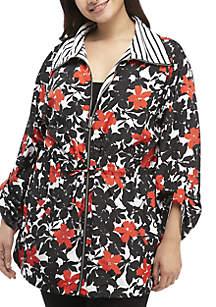 Plus Size Floral Rain Coat