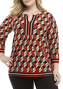 Ruby Rd Plus Size Mixed Geometric Puff Print Tunic