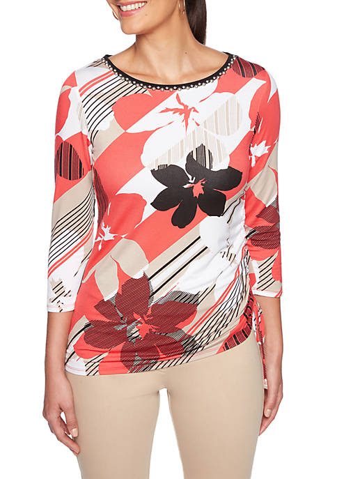 Ruby Rd Petite In the Mix Floral Knit