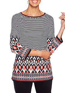 Petite Mixed Stripe Knit Top