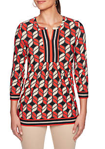 Petite In The Mix Geometric Puff Print Tunic Top
