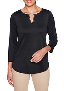Petite Embellished Split Neck Knit Top