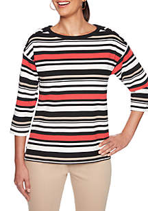 Petite In The Mix Striped Top