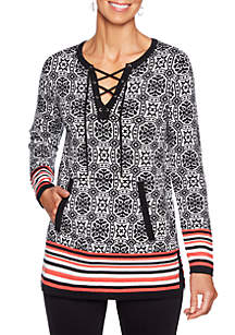 Ruby Rd Petite In The Mix Jacquard Pullover Sweater