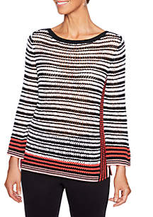 Petite In The Mix Striped Pullover Sweater