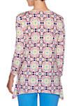 Womens Fresh & Fun Puff Print Moroccan Tile Knit Top