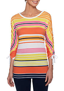 Multi Stripe Ruched Sleeve Top