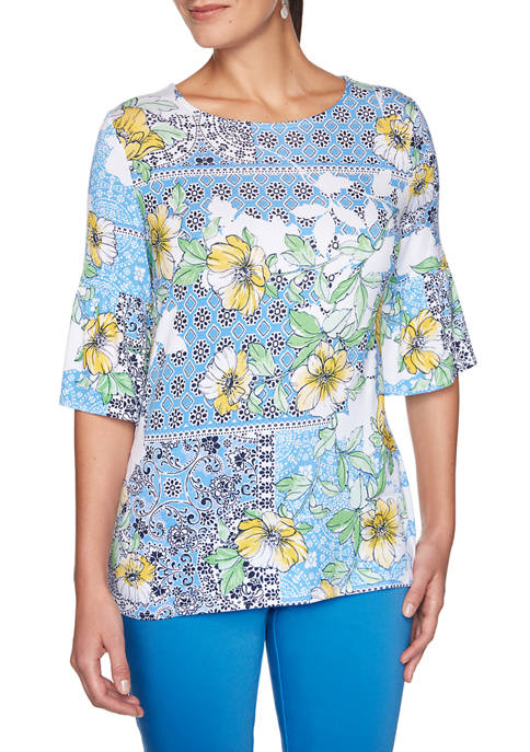 Womens Fresh and Fun Patchwork Medallion Floral Top