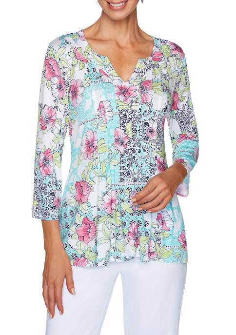 Petite Fresh and Fun Medallion Floral Print Knit Top