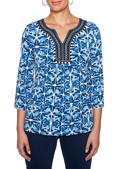 Ruby Rd Into The Blue Embroidered Split Neck