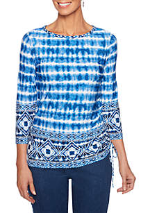 Into The Blue Tie Dye Puff Print Side Ruche Top