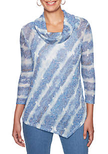 Into The Blue Cowl Neck Hacci Top