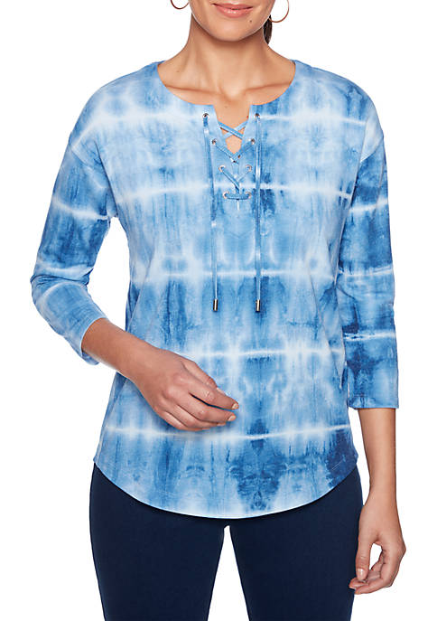 Into The Blue Stripe Tie Dye Lace-Up V-Neck Top