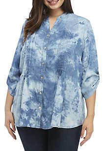 Plus Size Blue Tencel Denim Tie Dye Tunic