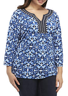 Ruby Rd Plus Size Embroidered Split Neck Tie Dye Tunic