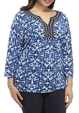 d52a047b464 Ruby Rd Plus Size Embroidered Split Neck Tie Dye Tunic ...